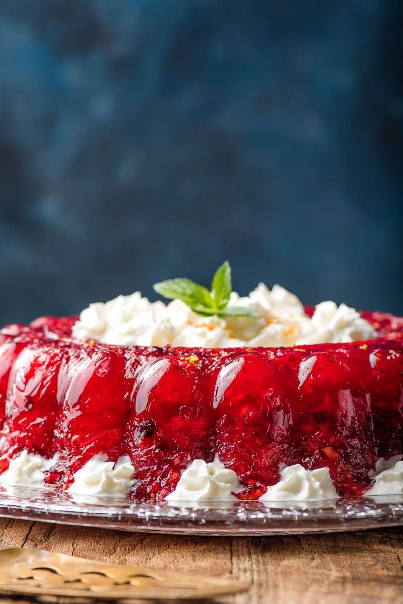 Cranberry Jello Salad recipe with whipped cream decorations