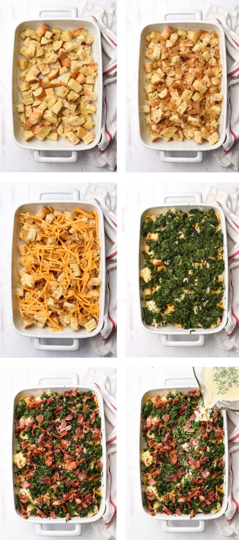 step by step photos for layering an overnight breakfast casserole
