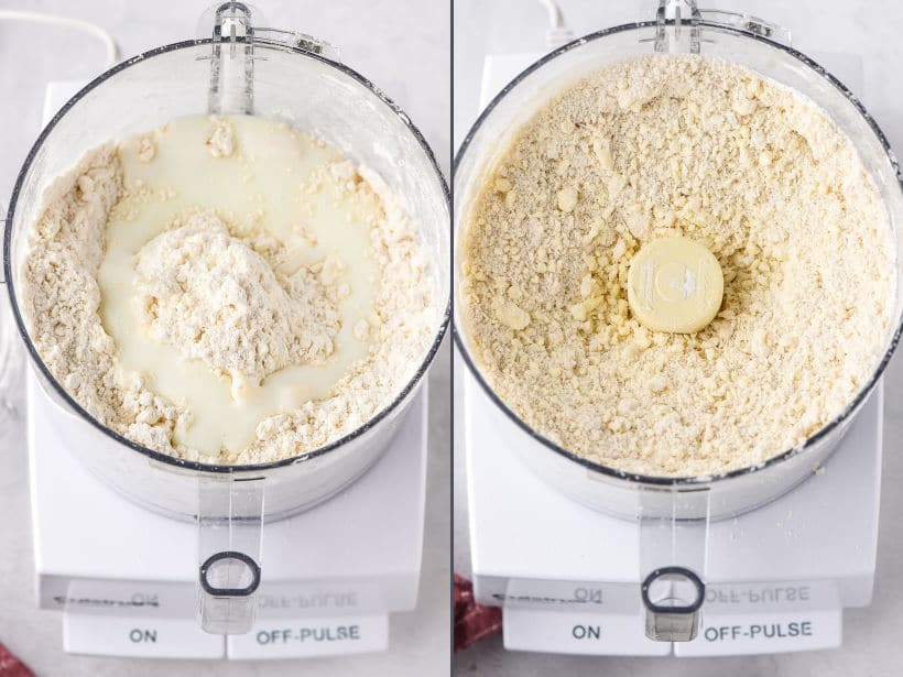 homemade pie crust dough in a food processor