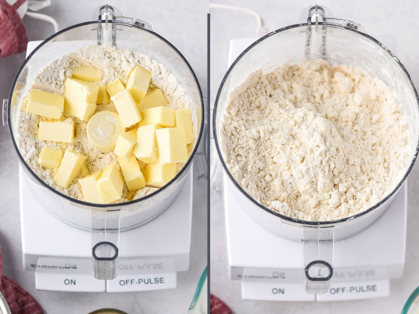 before and after of butter worked into flour in a food processor