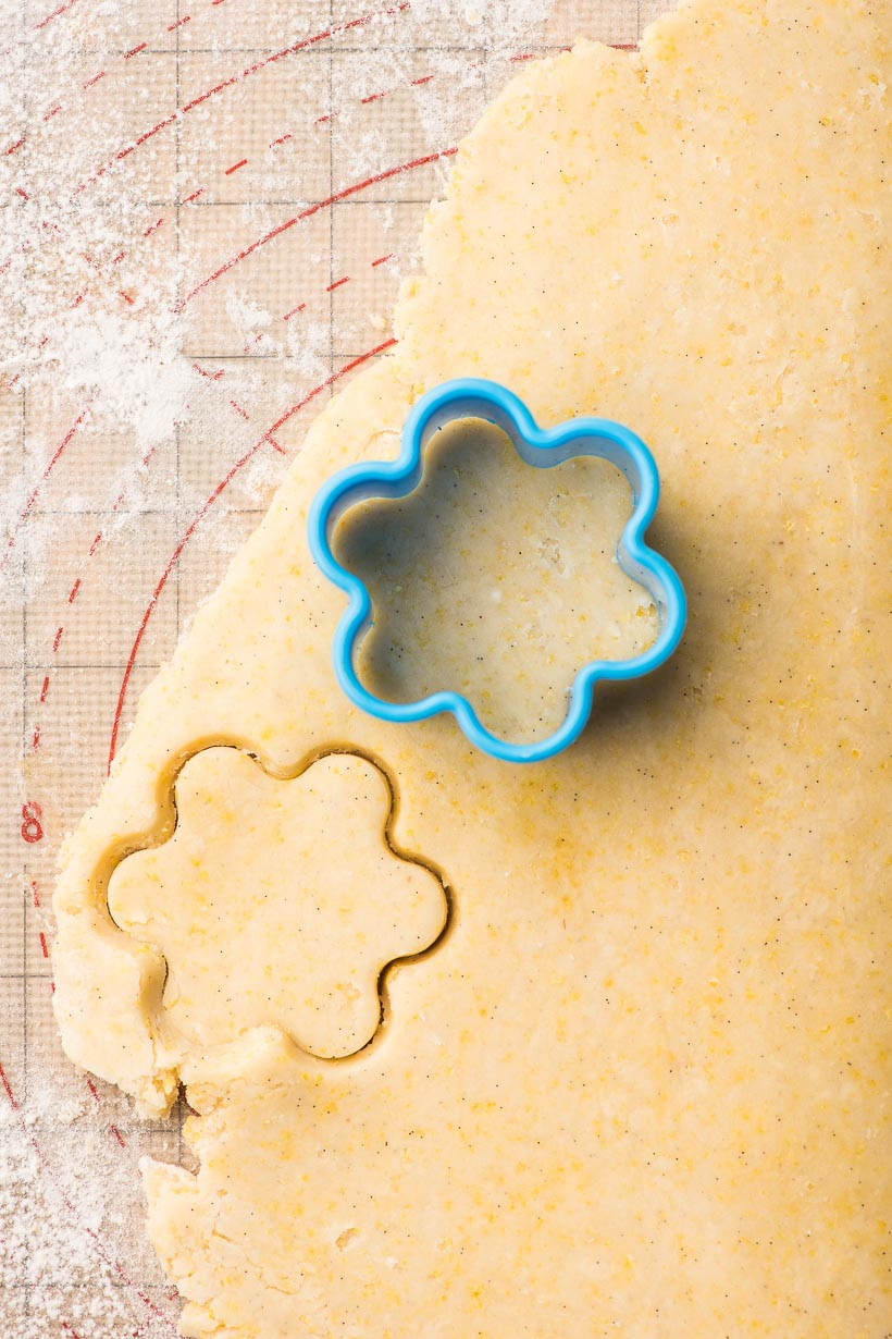 Canestrelli cookie dough rolled and cut with flower cookie cutter