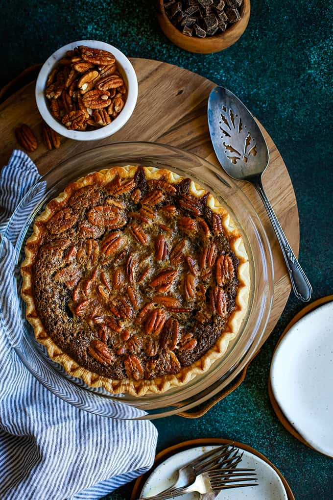 DESSERT- Dark Chocolate Brownie Pecan Pie