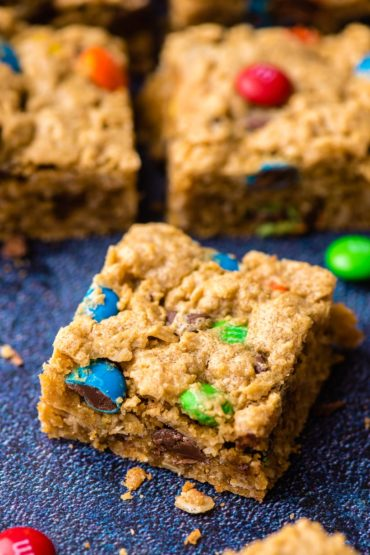 Monster Cookie Bar square dotted with M&Ms