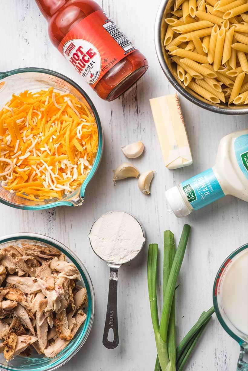 ingredients needed to make buffalo chicken mac and cheese