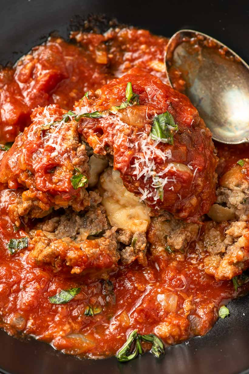 mozzarella stuffed meatball with marinara