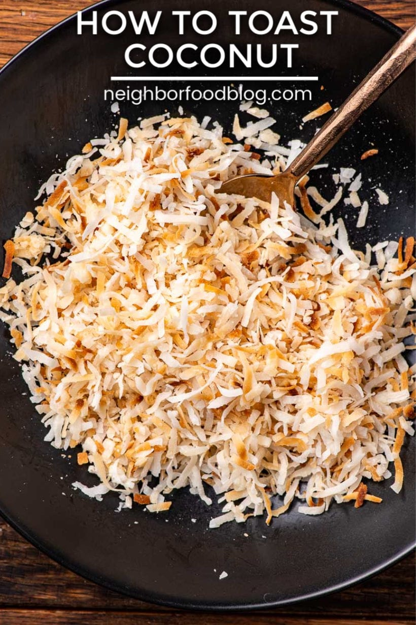 toasted coconut in a black bowl