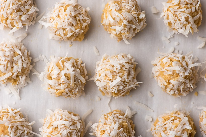 unbaked frozen coconut cookie dough balls