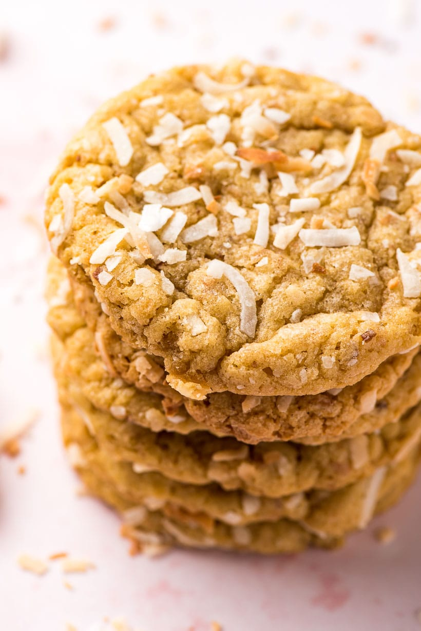 stack of toasted coconut cookies