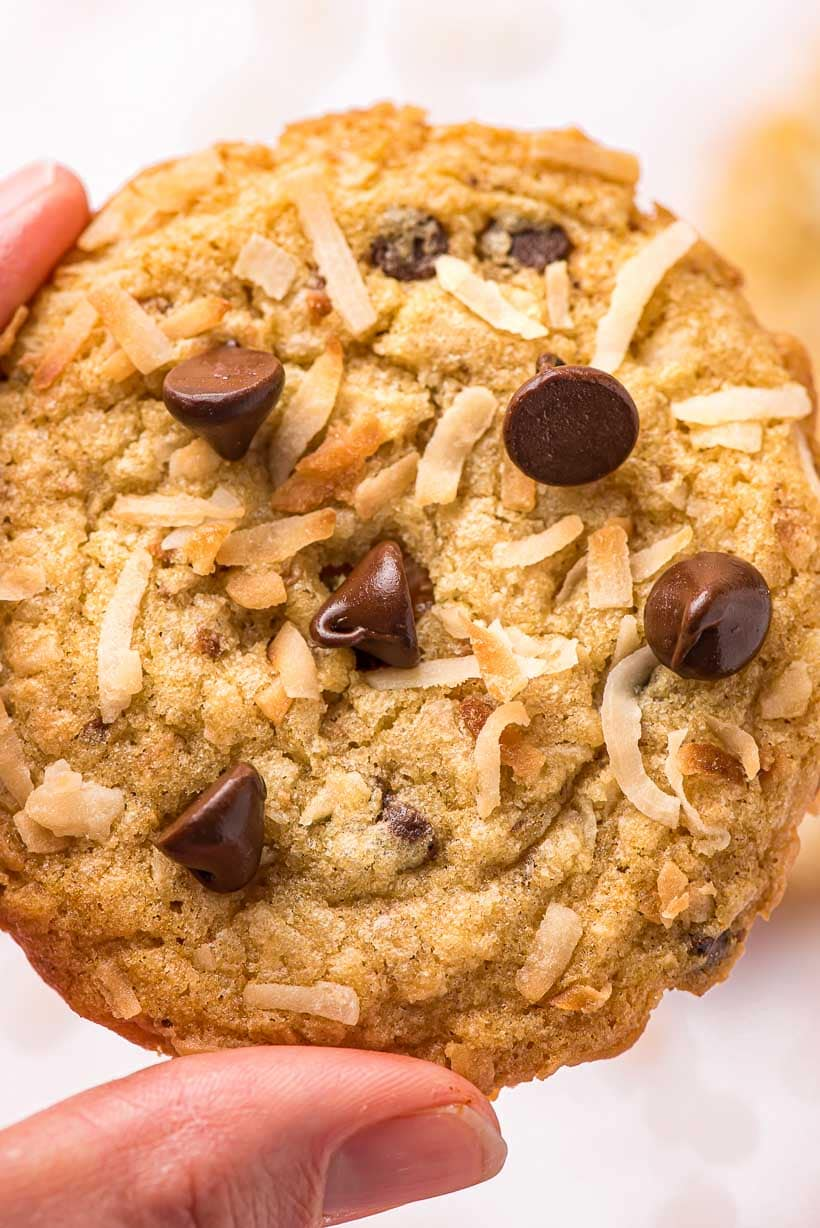 close up of chocolate chip coconut cookies