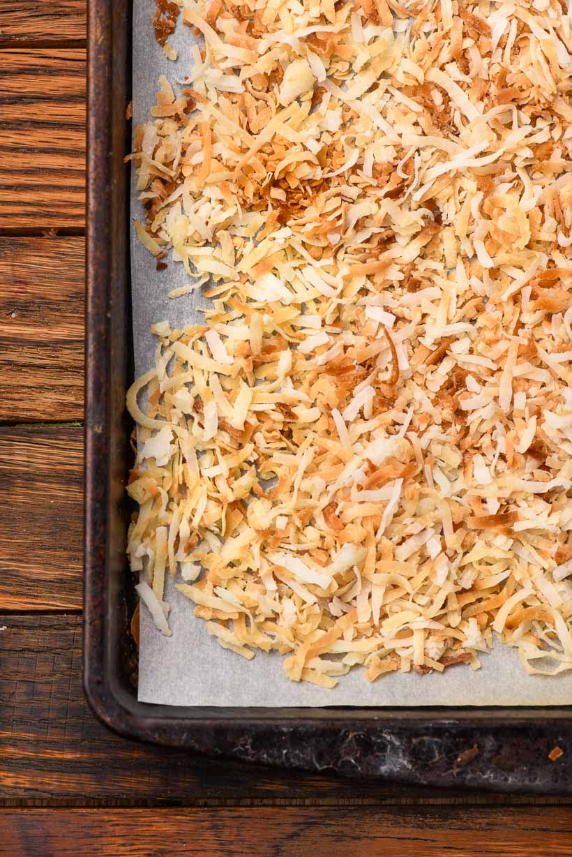 toasted coconut on a sheet pan