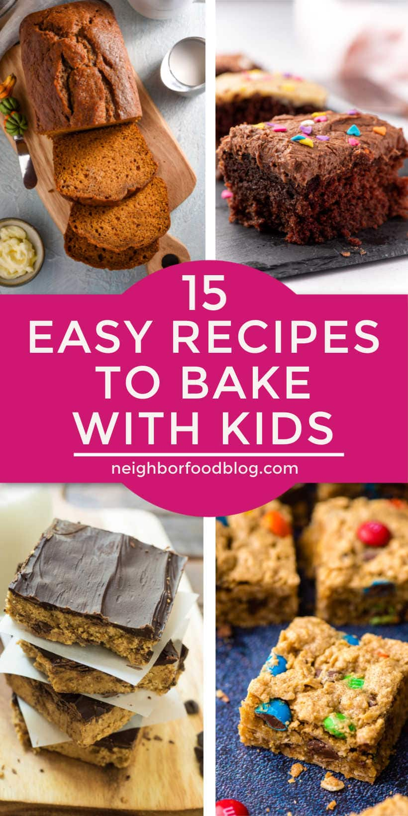 four photos of easy recipes to bake with kids