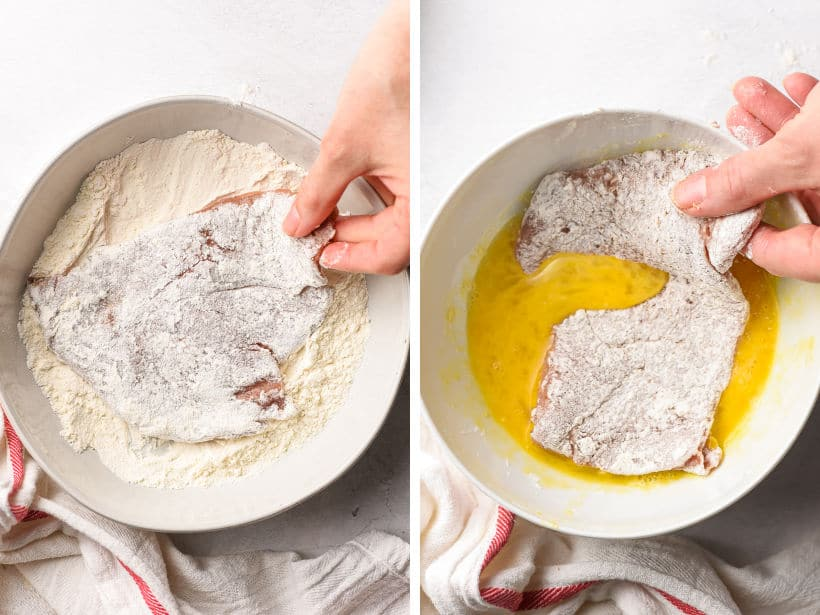 dipping veal cutlets in flour then in egg for breading