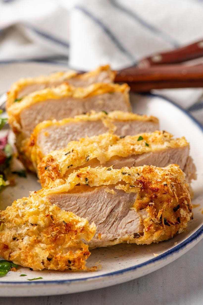 sliced pork chops with crispy coating