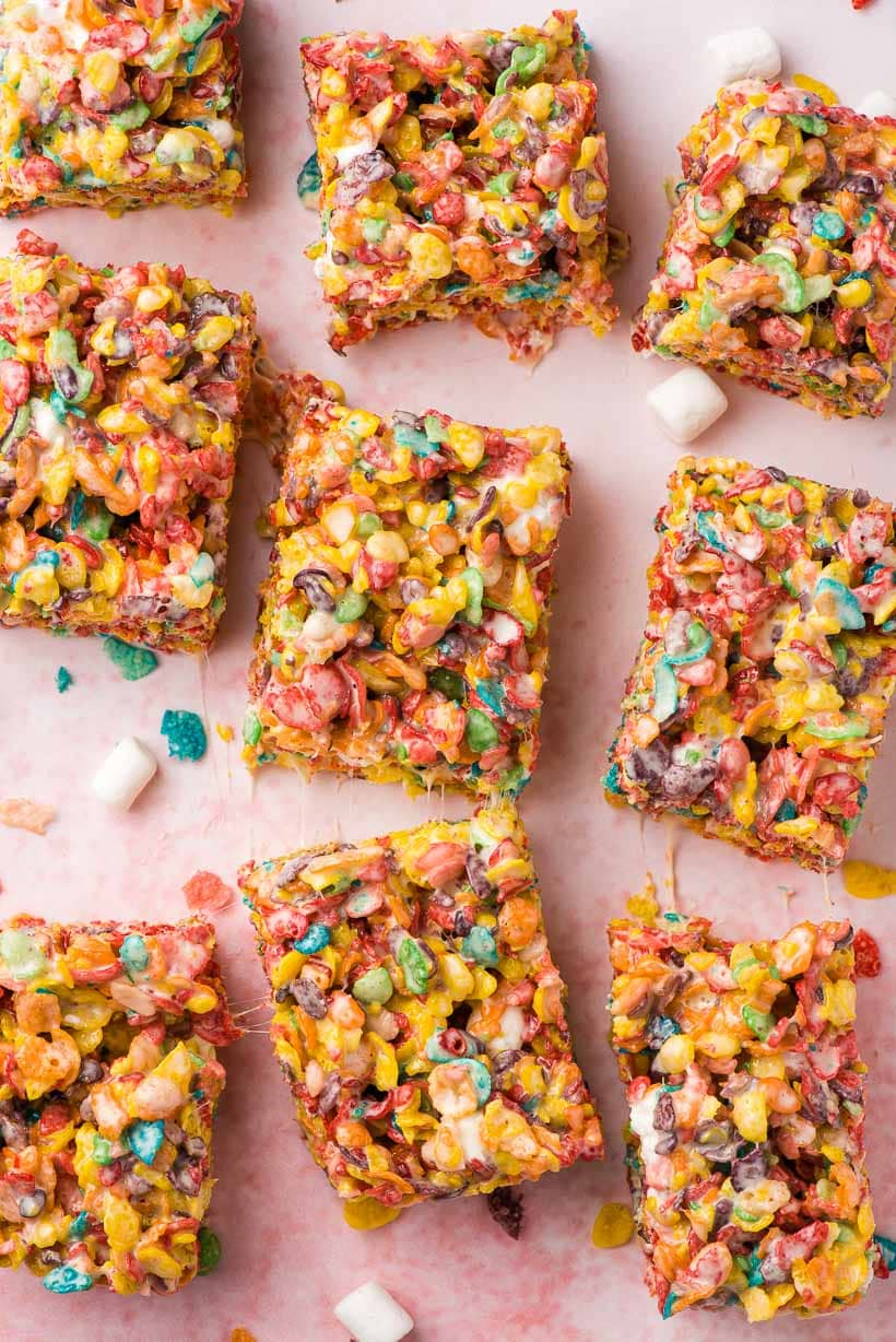 fruity pebble treats cut into squares