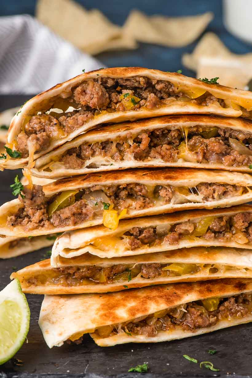 stack of cheesy beef quesadillas