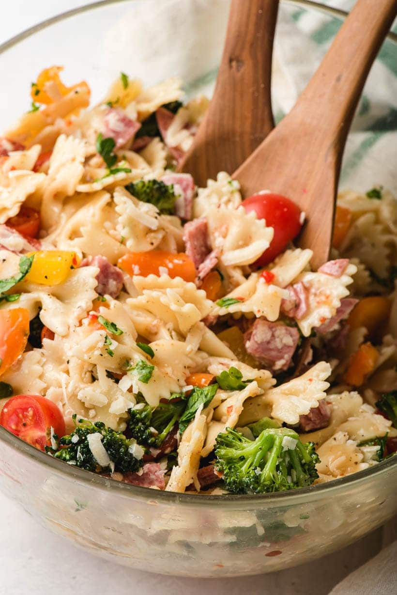 bowtie pasta salad with parmesan and broccoli