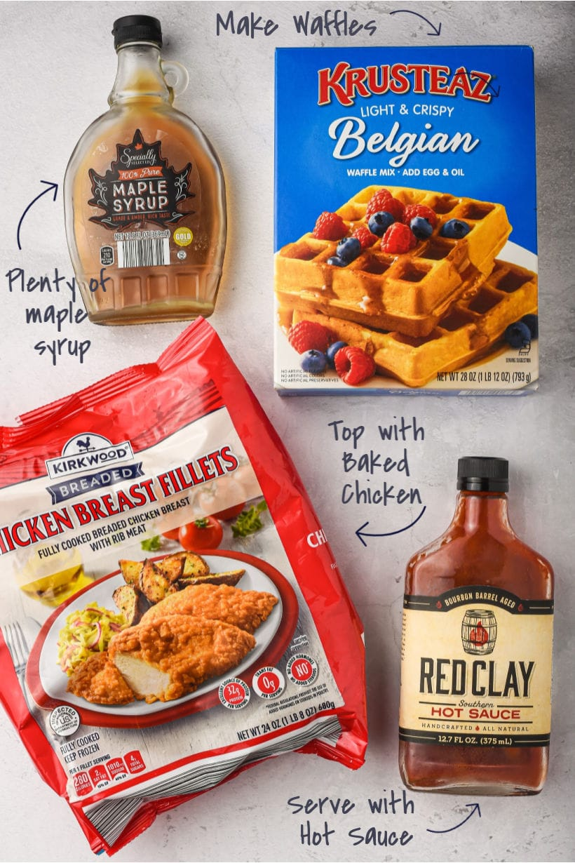 Ingredients for chicken and waffles