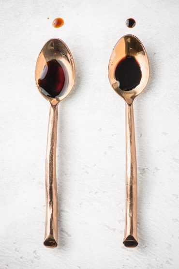 1 spoon with balsamic vinegar and 1 spoon with balsamic reduction