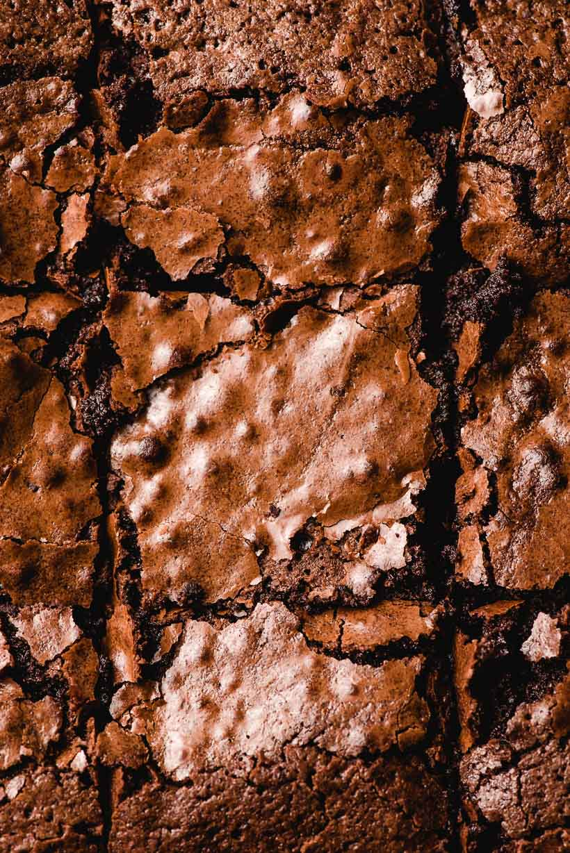 super up close shot of crackly topped homemade brownies