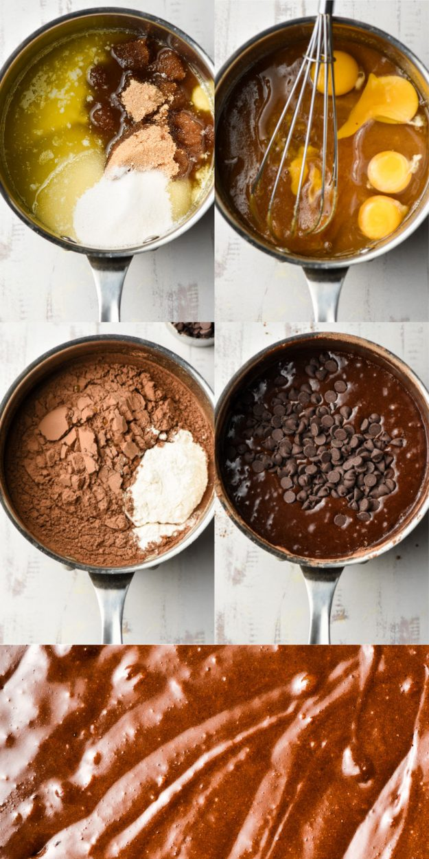step by step photos of stovetop brownies being made