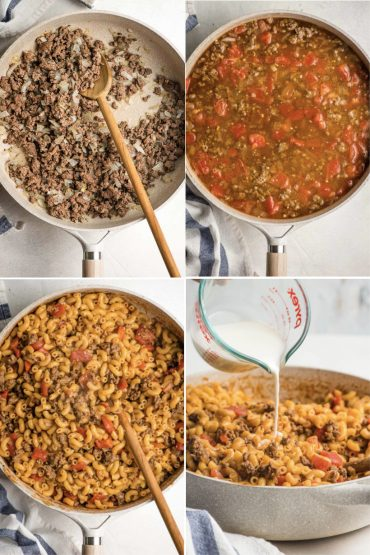 four step by step photos of making one pot cheeseburger pasta