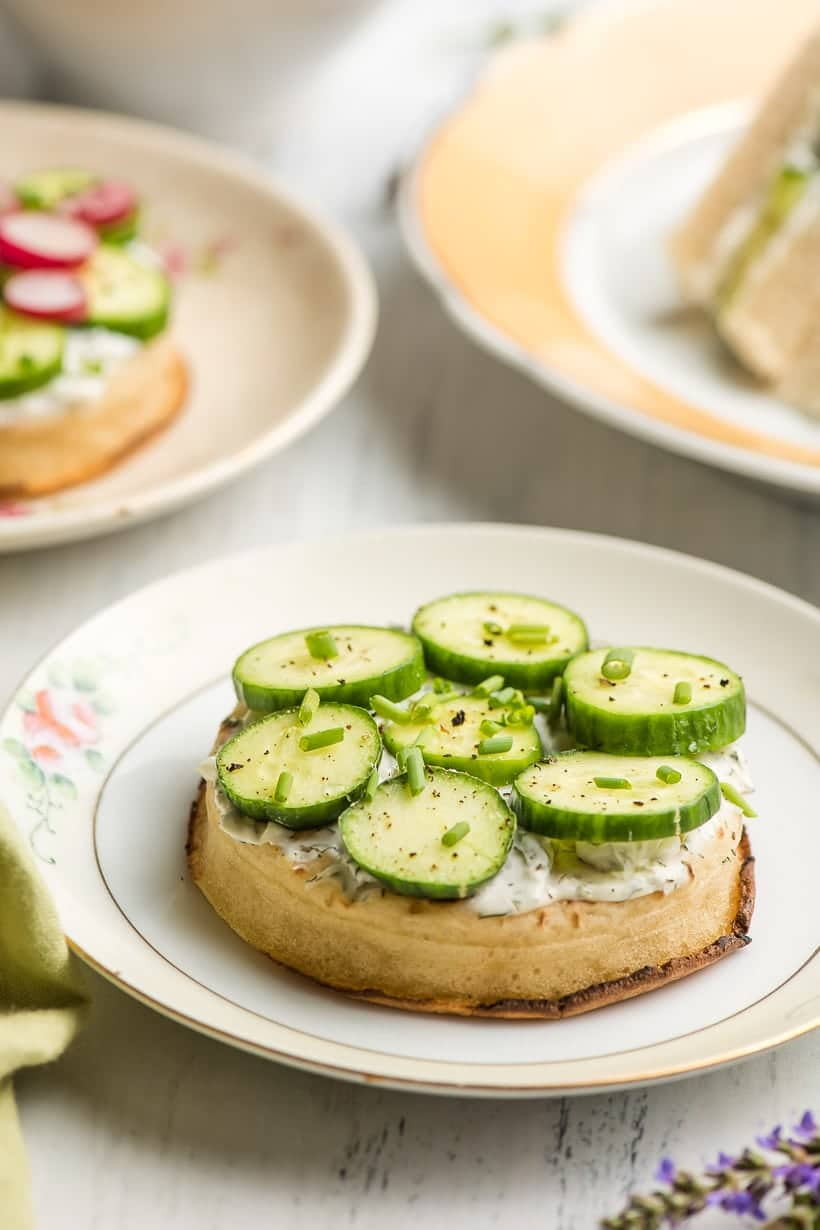 Cream Cheese Cucumber Sandwich on a crumpet and flowered plate