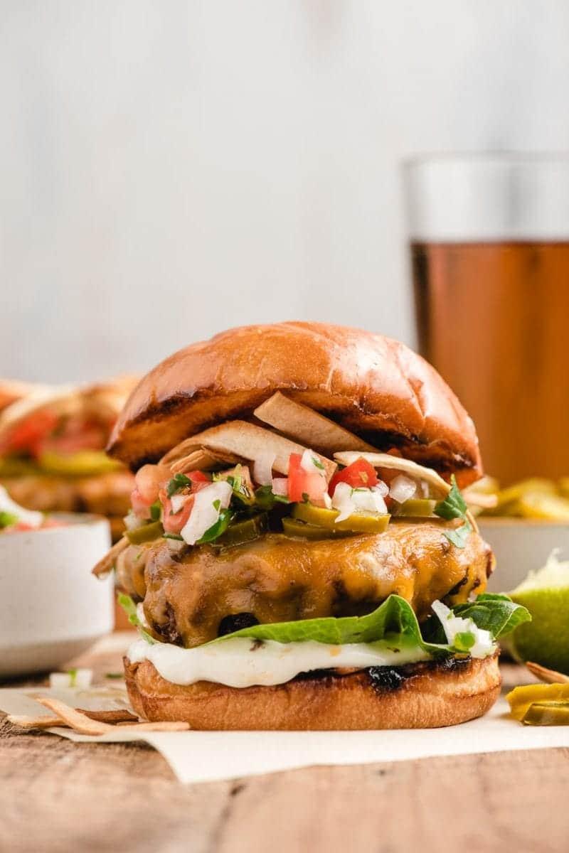 taco burger on a wood board