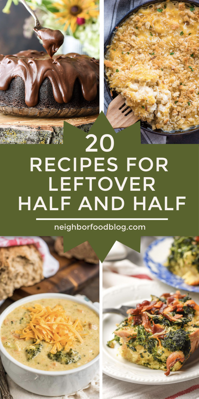 collage of recipes that use half and half
