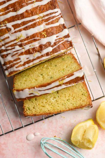 slices of glazed lemon zucchini bread