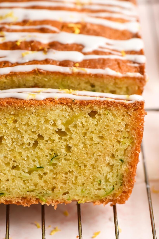 up close slice of lemon zucchini bread