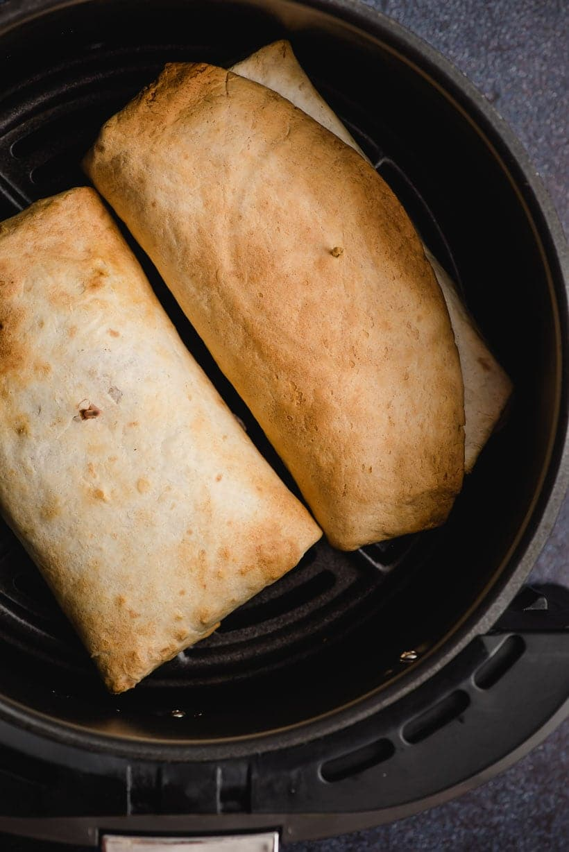 crispy browned burritos in an air fryer