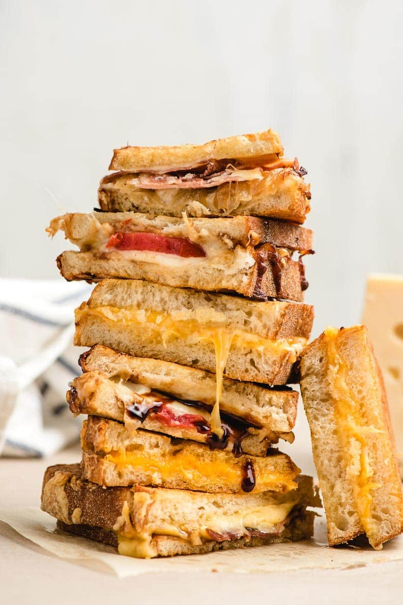 tall stack of grilled cheeses