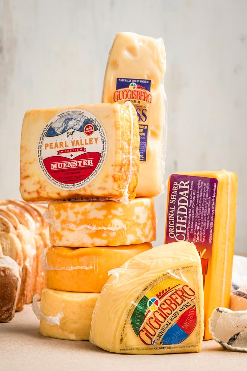 stack of Ohio cheeses in their packages