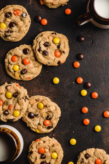 Reeses peanut butter cookies with chocolate chips with Reeses Pieces