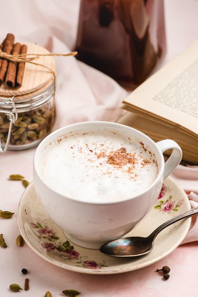 white mug filled with chai tea latte