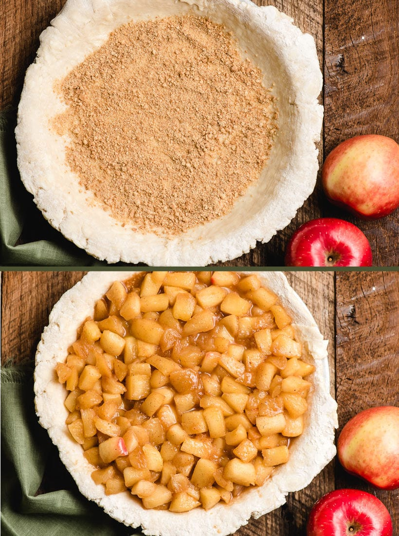 Unbaked pie crust filled with fried apples