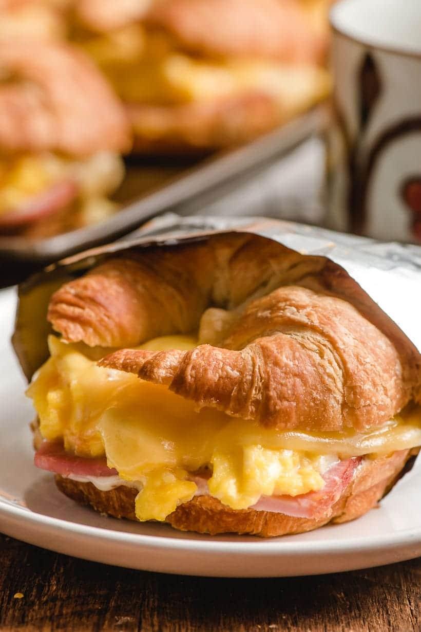 croissant egg sandwich wrapped in foil