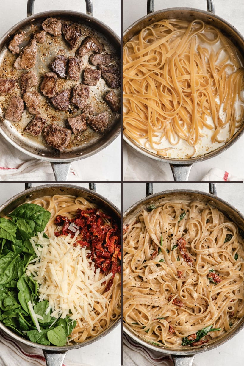 four steps to make steak pasta