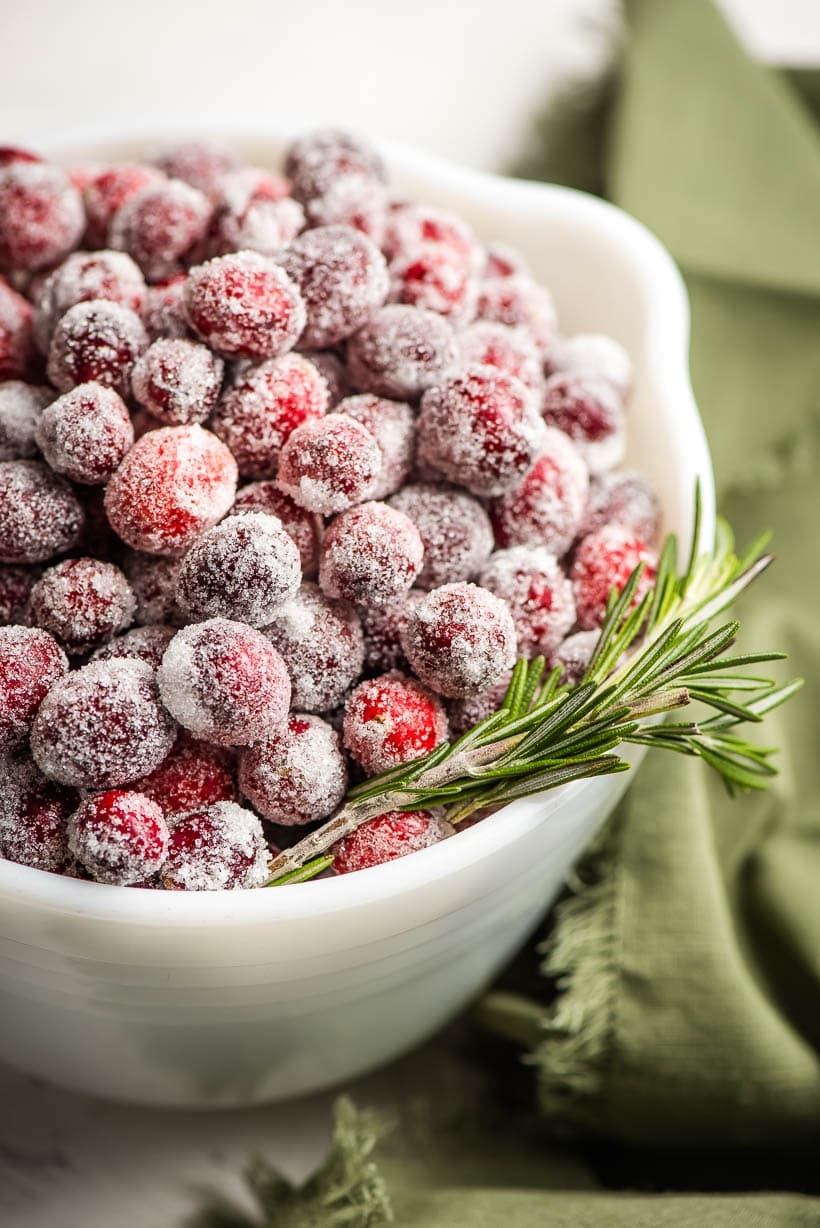 candied cranberries in a white bowl