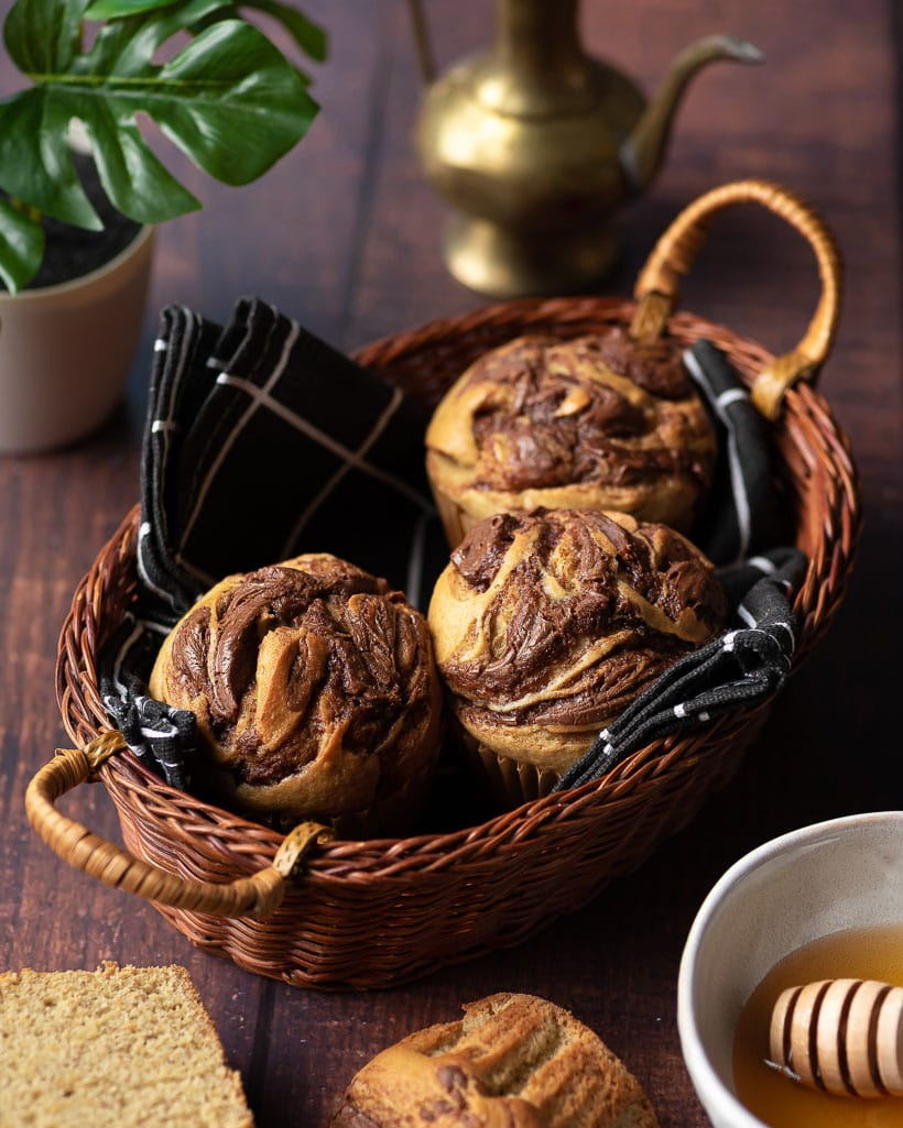 basket of banana muffins with nutella