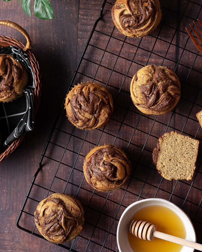 banana nutella muffins cooling on a rack