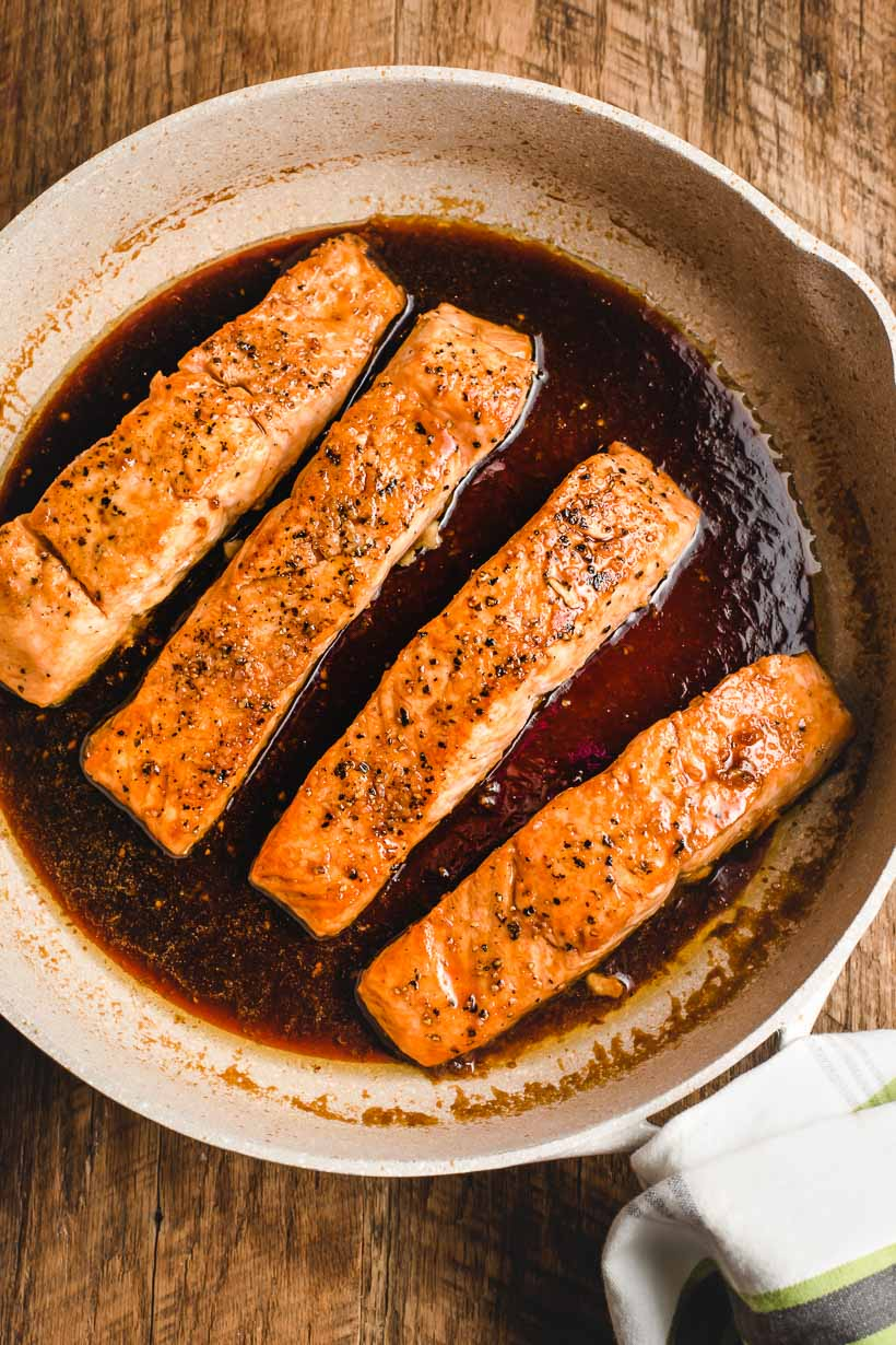 pan of honey soy salmon fillets