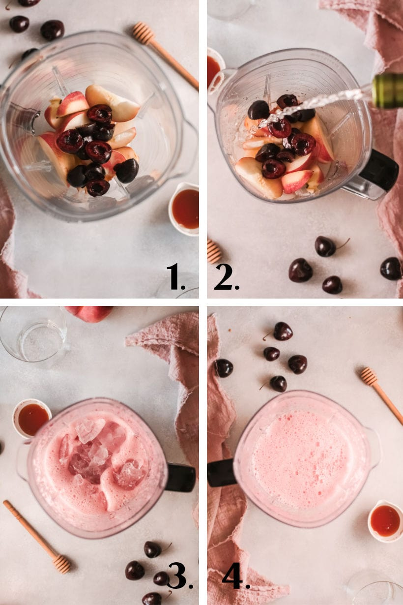 step by step process of making a wine slushy in a blender