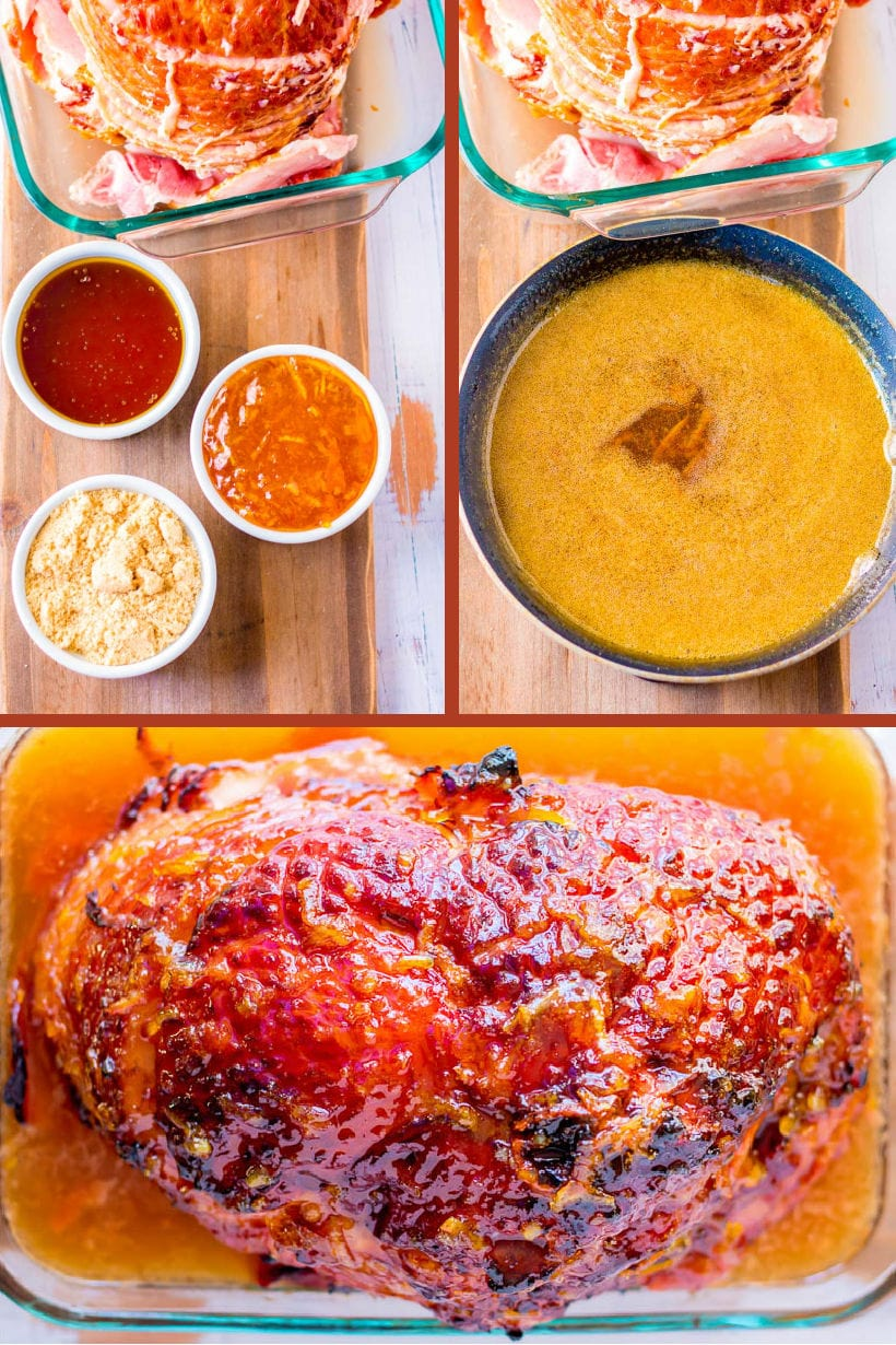 ingredients and step by step photos for making sweet glazed ham for Easter