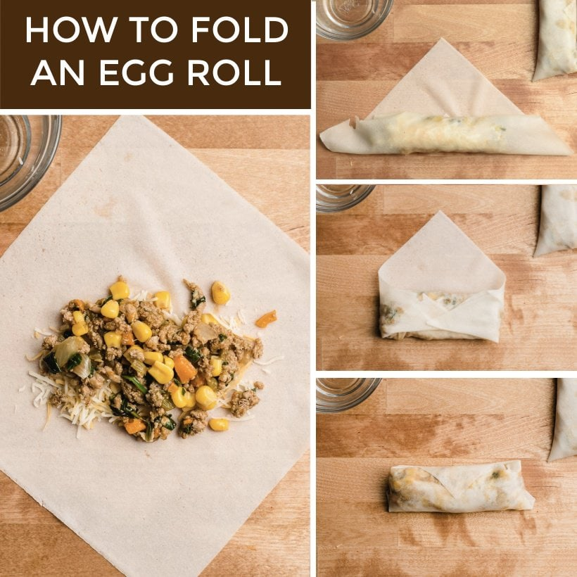Simple image steps on how to fold and egg roll.