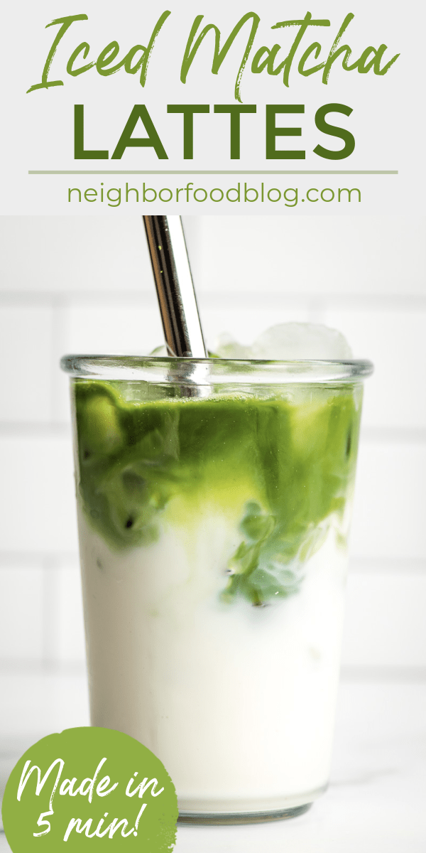Straw mixing together a tall glass of iced matcha latte.